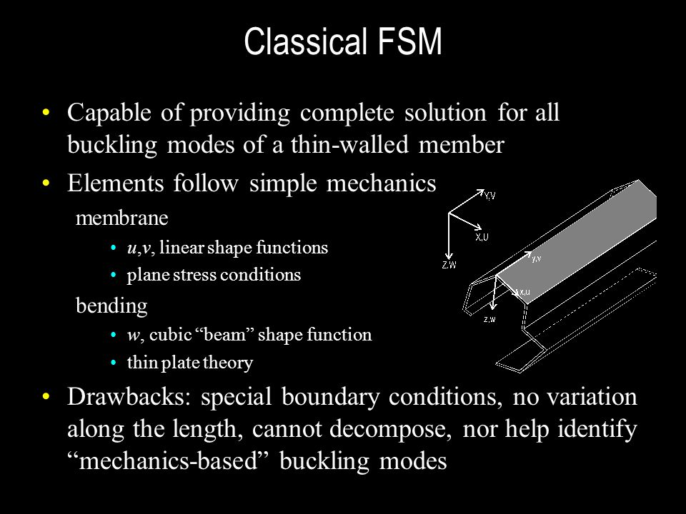 Classical FSM Capable of providing complete solution for all buckling modes of a thin-walled member.