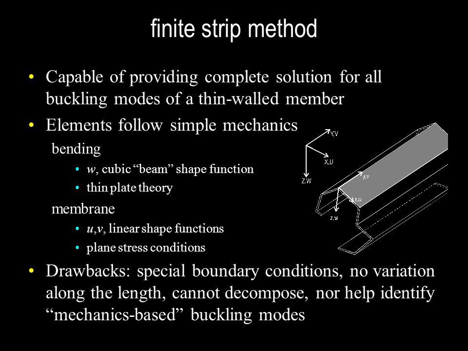 finite strip method Capable of providing complete solution for all buckling modes of a thin-walled member.