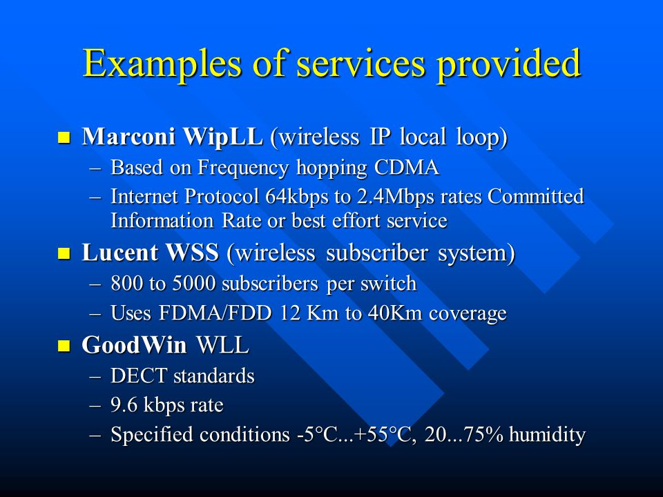 Examples of services provided