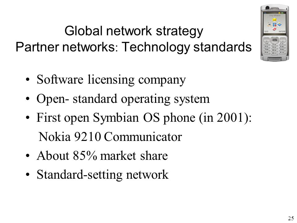 Global network strategy Partner networks: Technology standards