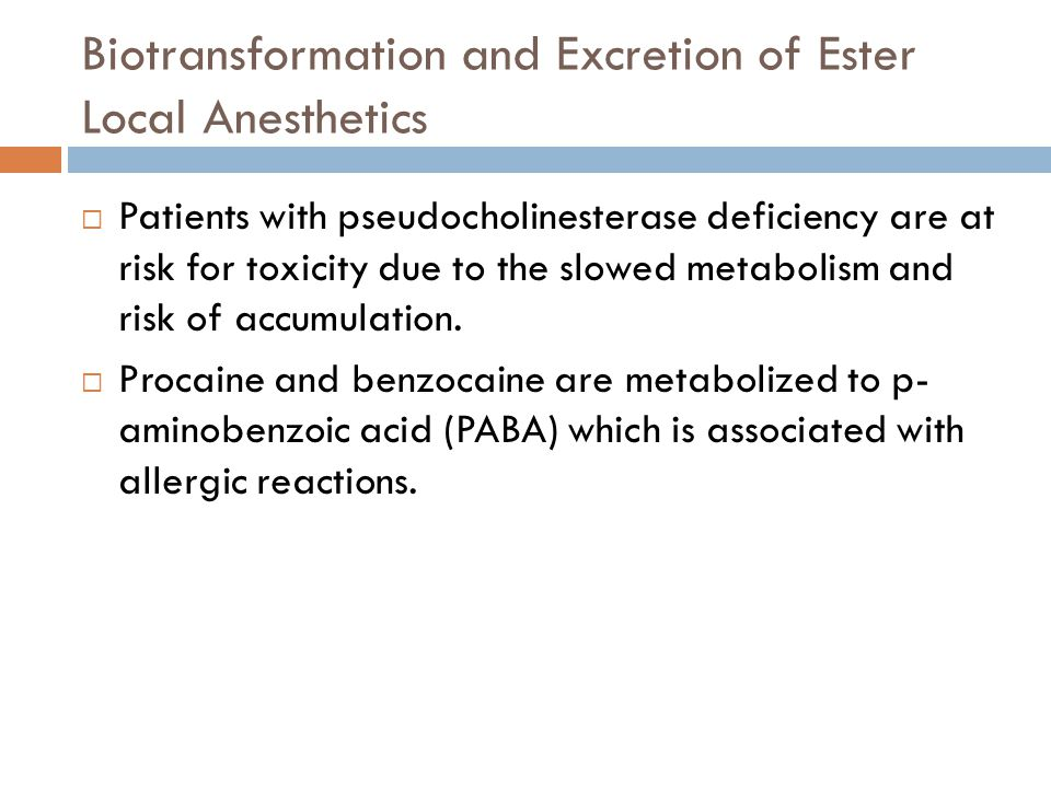 Biotransformation and Excretion of Ester Local Anesthetics