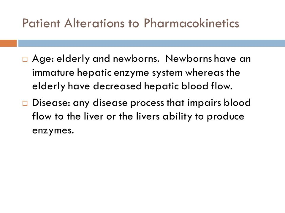 Patient Alterations to Pharmacokinetics