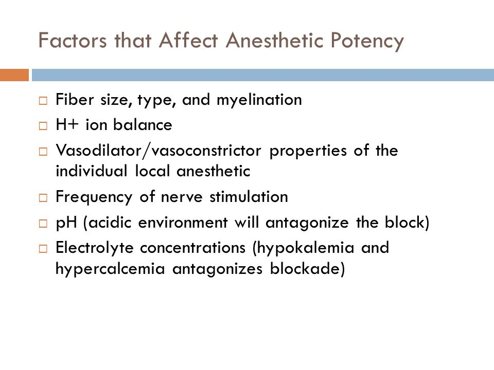 Factors that Affect Anesthetic Potency