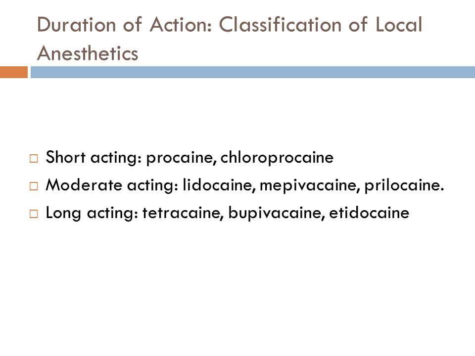 Duration of Action: Classification of Local Anesthetics