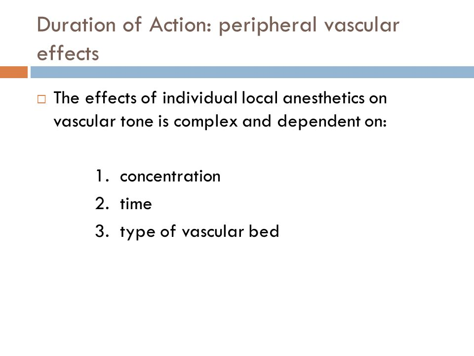 Duration of Action: peripheral vascular effects
