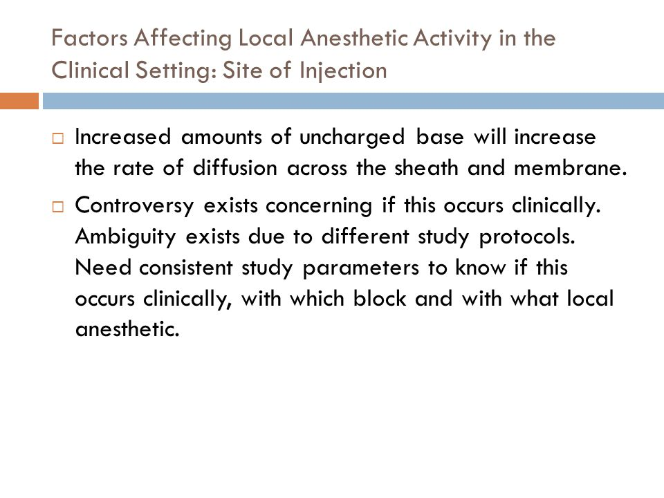 Factors Affecting Local Anesthetic Activity in the Clinical Setting: Site of Injection