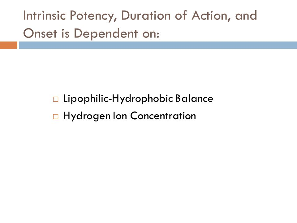Intrinsic Potency, Duration of Action, and Onset is Dependent on:
