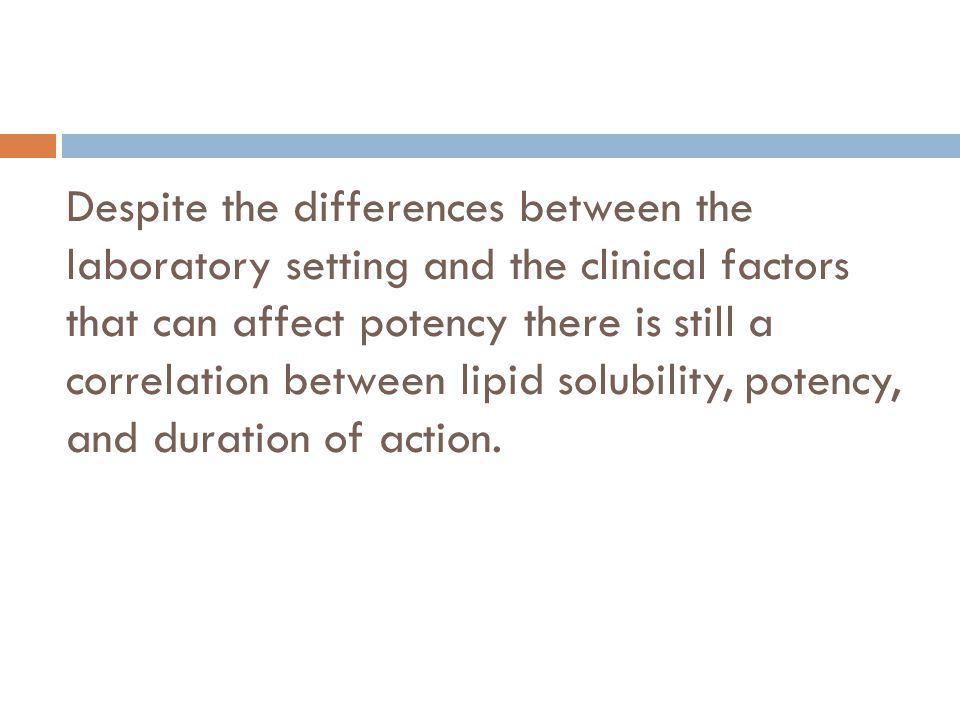 Despite the differences between the laboratory setting and the clinical factors that can affect potency there is still a correlation between lipid solubility, potency, and duration of action.