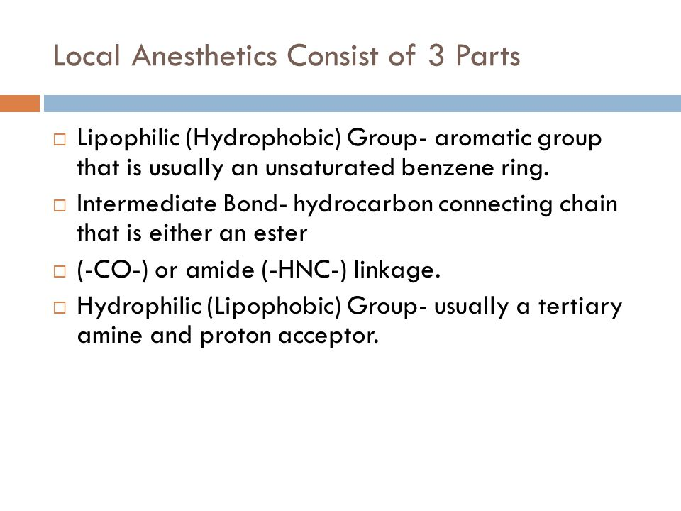 Local Anesthetics Consist of 3 Parts