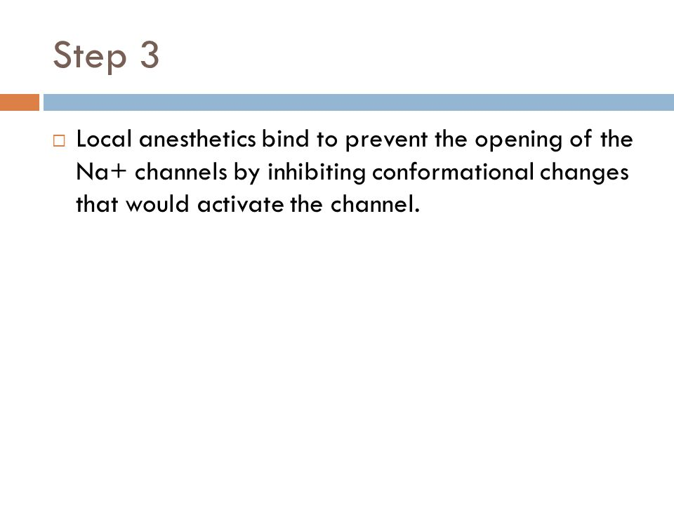 Step 3 Local anesthetics bind to prevent the opening of the Na+ channels by inhibiting conformational changes that would activate the channel.