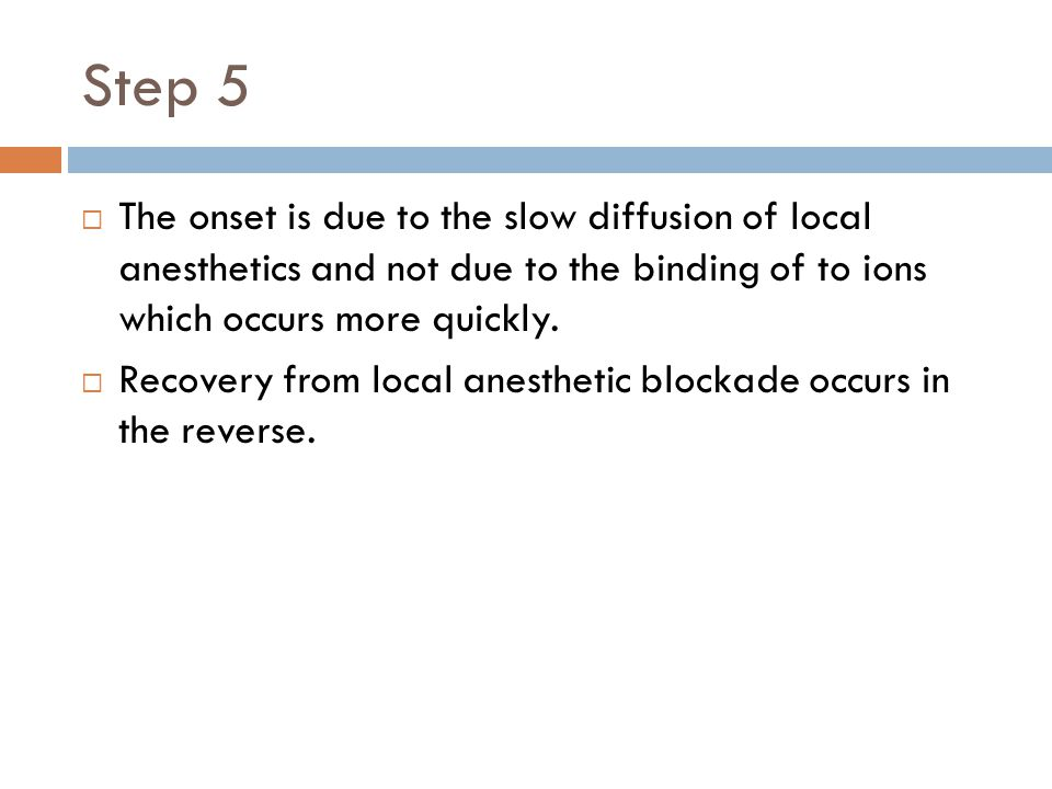 Step 5 The onset is due to the slow diffusion of local anesthetics and not due to the binding of to ions which occurs more quickly.