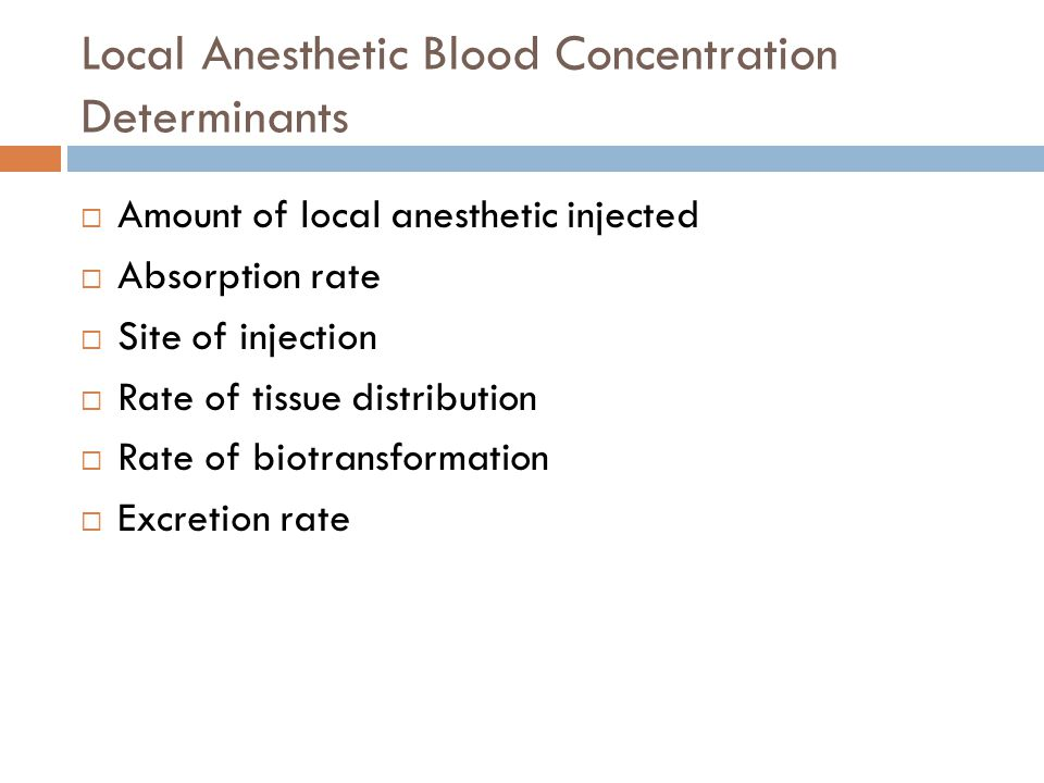 Local Anesthetic Blood Concentration Determinants