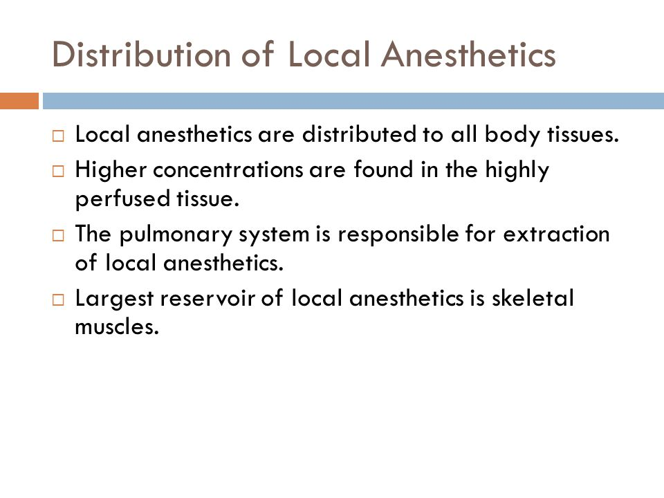 Distribution of Local Anesthetics