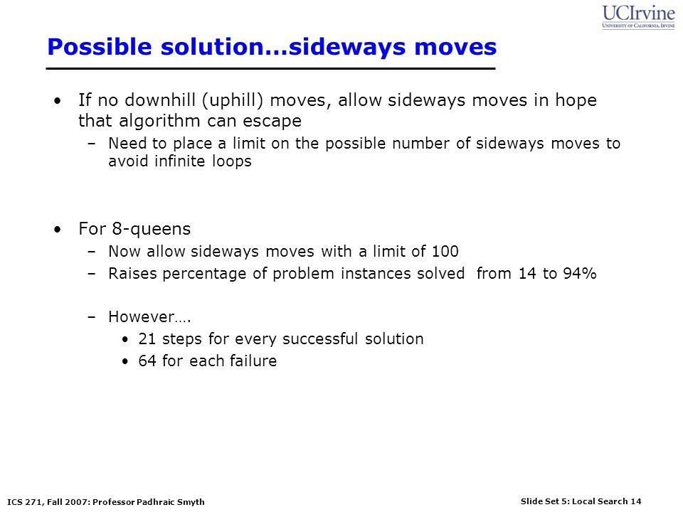 Possible solution…sideways moves