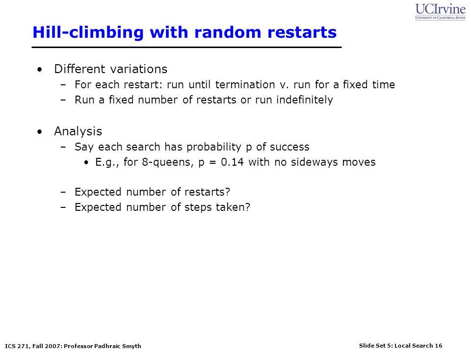 Hill-climbing with random restarts