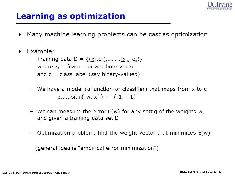 Learning as optimization