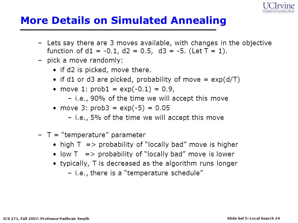 More Details on Simulated Annealing