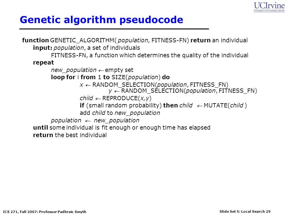 Genetic algorithm pseudocode