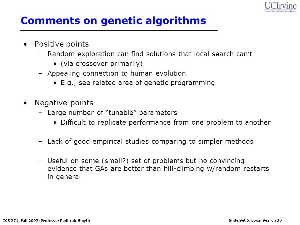 Comments on genetic algorithms