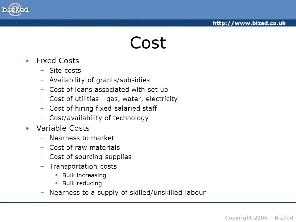 Cost Fixed Costs Variable Costs Site costs
