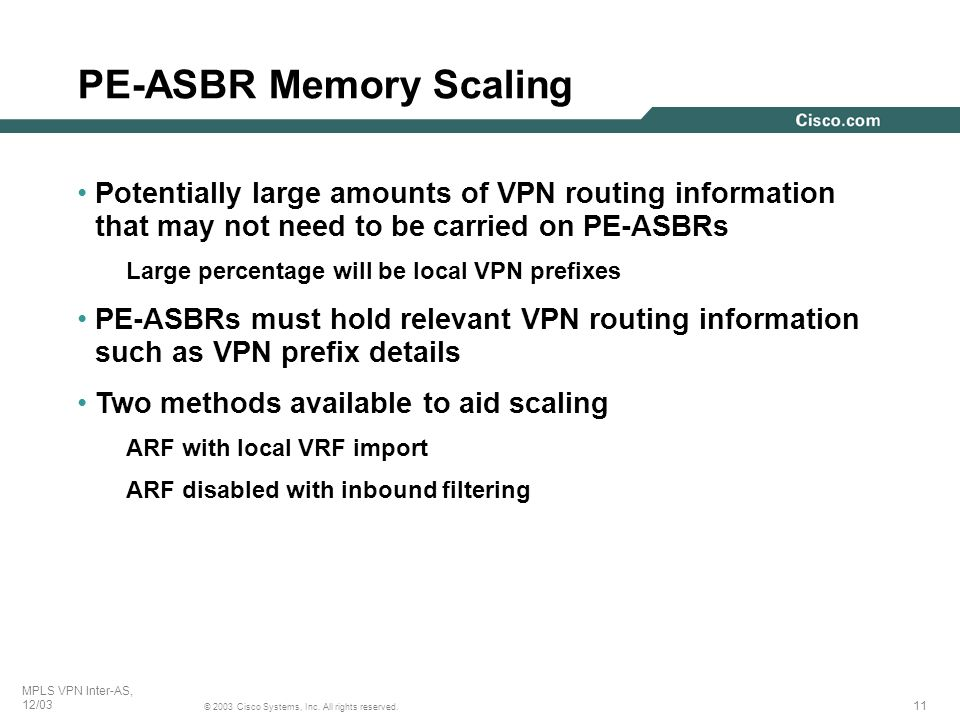 PE-ASBR Memory Scaling
