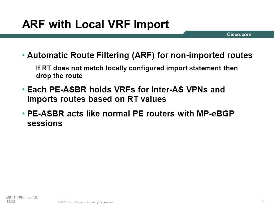 ARF with Local VRF Import