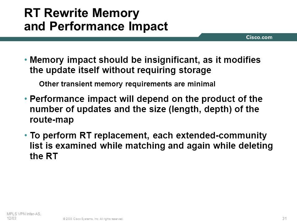 RT Rewrite Memory and Performance Impact