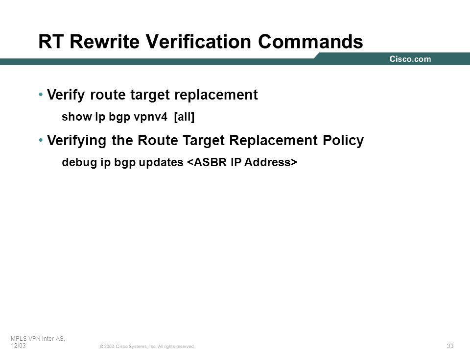 RT Rewrite Verification Commands