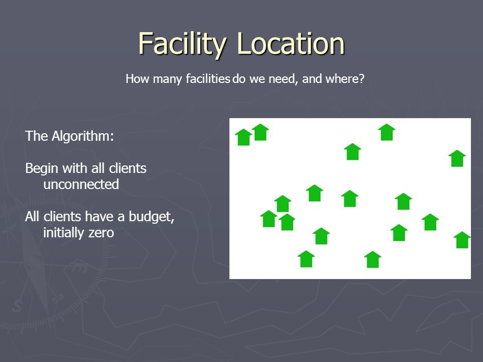 Facility Location The Algorithm: Begin with all clients unconnected