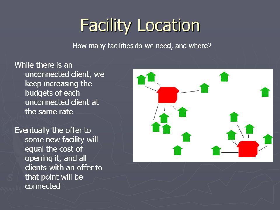 Facility Location How many facilities do we need, and where