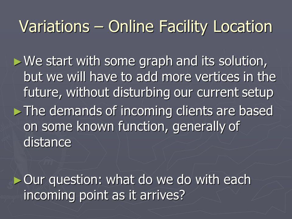 Variations – Online Facility Location