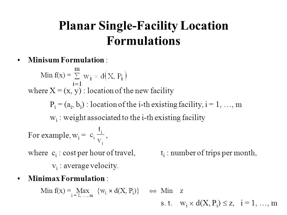 Planar Single-Facility Location Formulations