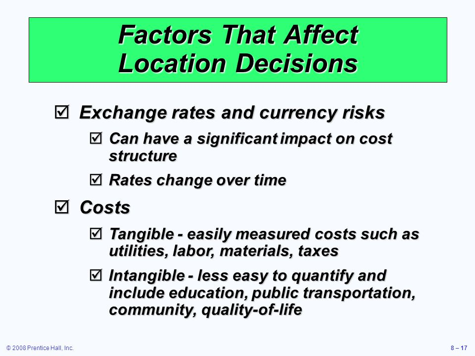Factors That Affect Location Decisions