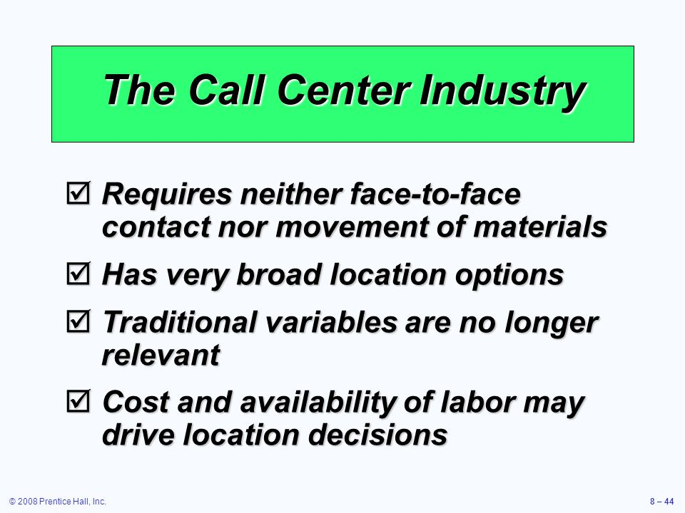 The Call Center Industry