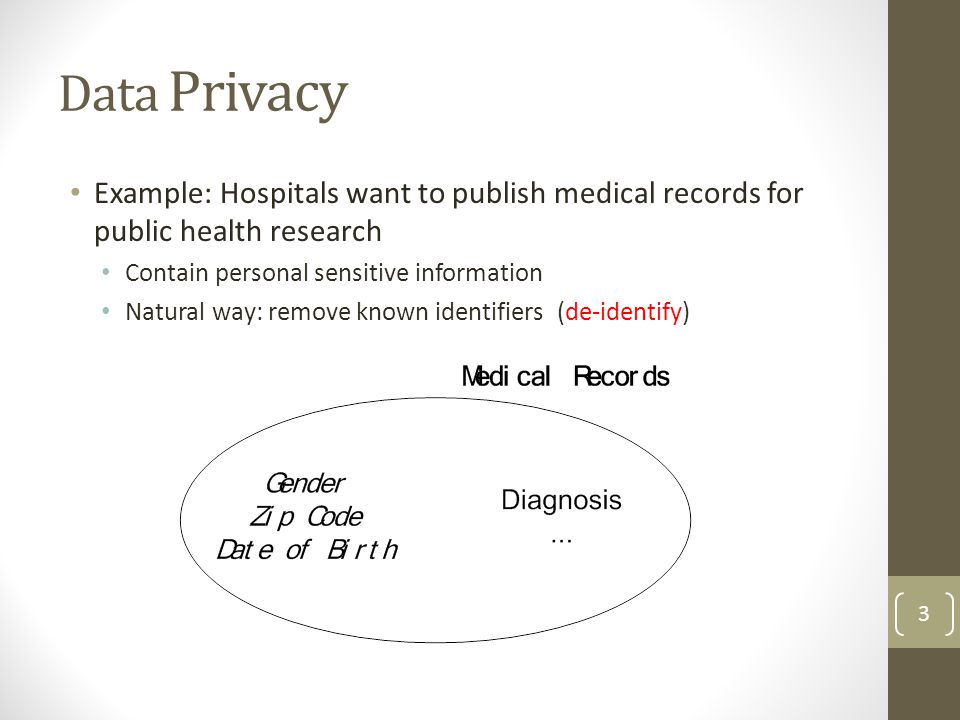 Data Privacy Example: Hospitals want to publish medical records for public health research. Contain personal sensitive information.