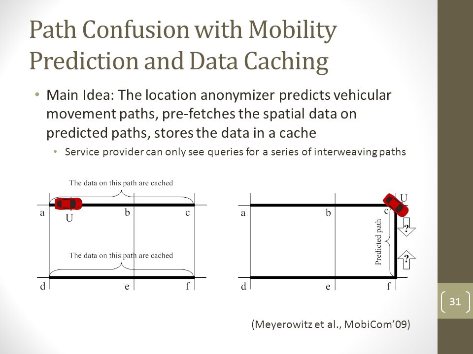 Path Confusion with Mobility Prediction and Data Caching