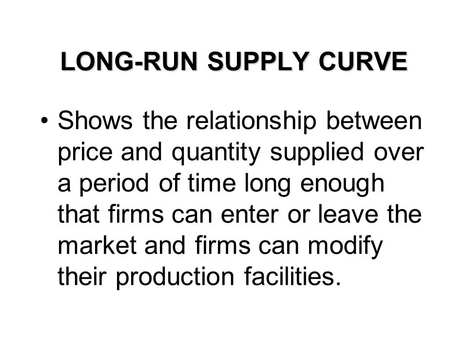 LONG-RUN SUPPLY CURVE