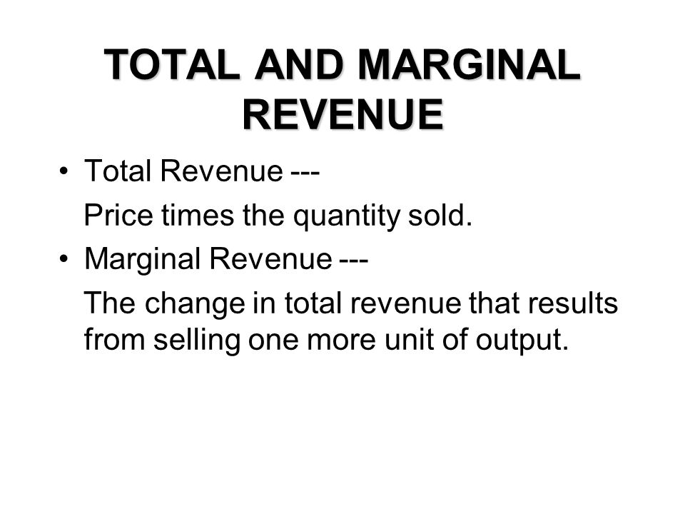 TOTAL AND MARGINAL REVENUE