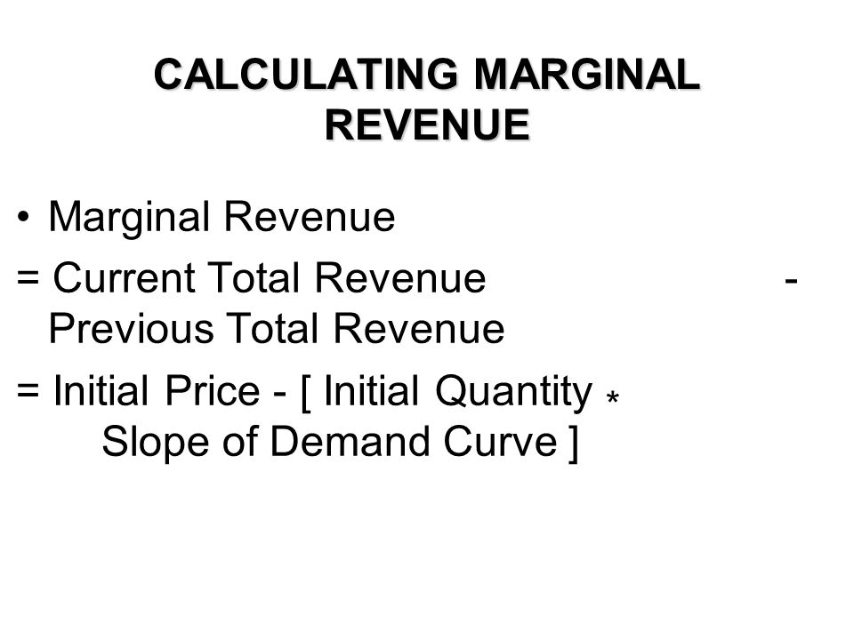 CALCULATING MARGINAL REVENUE