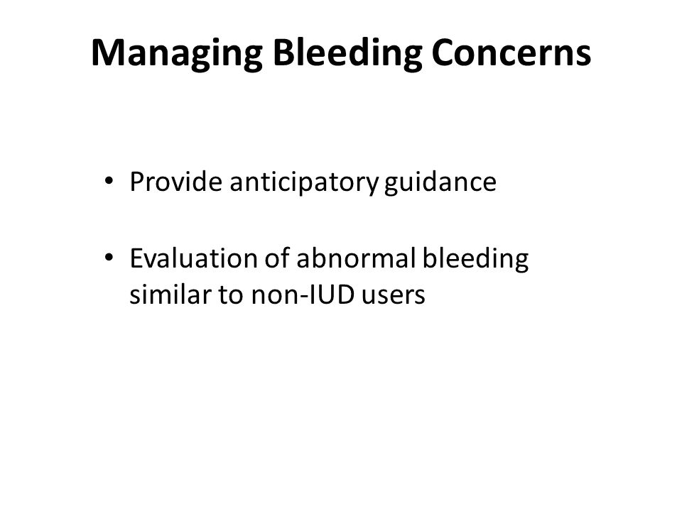 Managing Bleeding Concerns
