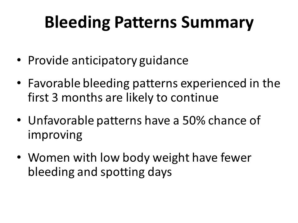 Bleeding Patterns Summary