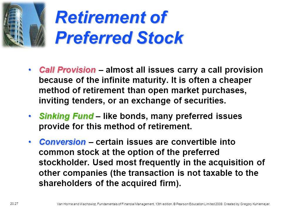 Retirement of Preferred Stock