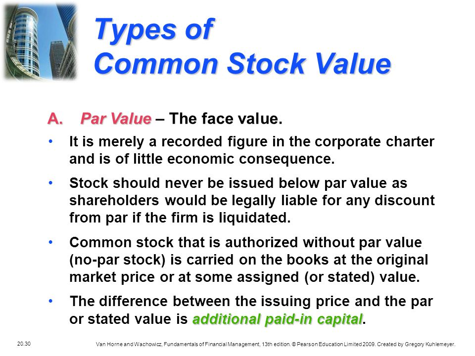 Types of Common Stock Value
