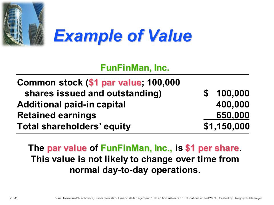 Example of Value FunFinMan, Inc. Common stock ($1 par value; 100,000