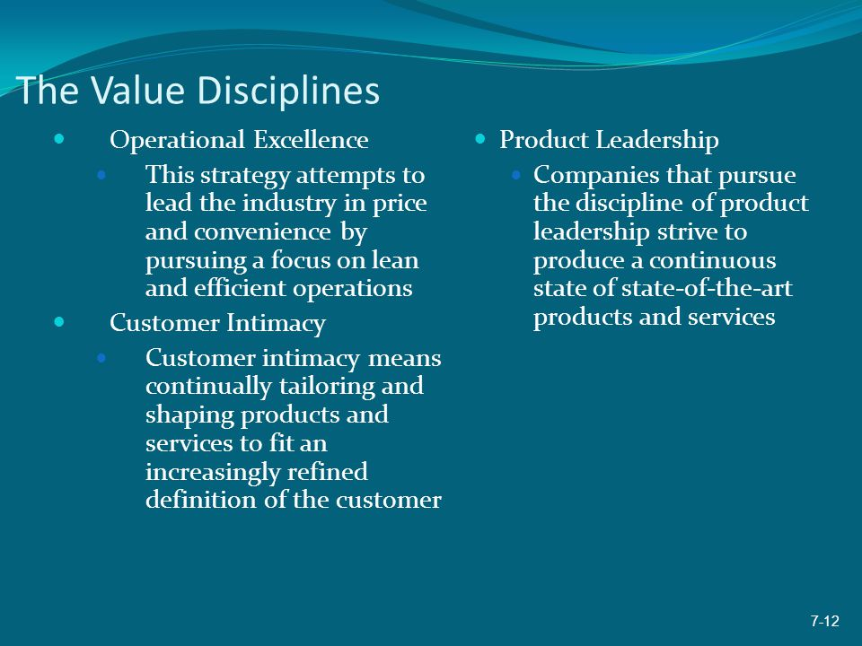 The Value Disciplines Operational Excellence