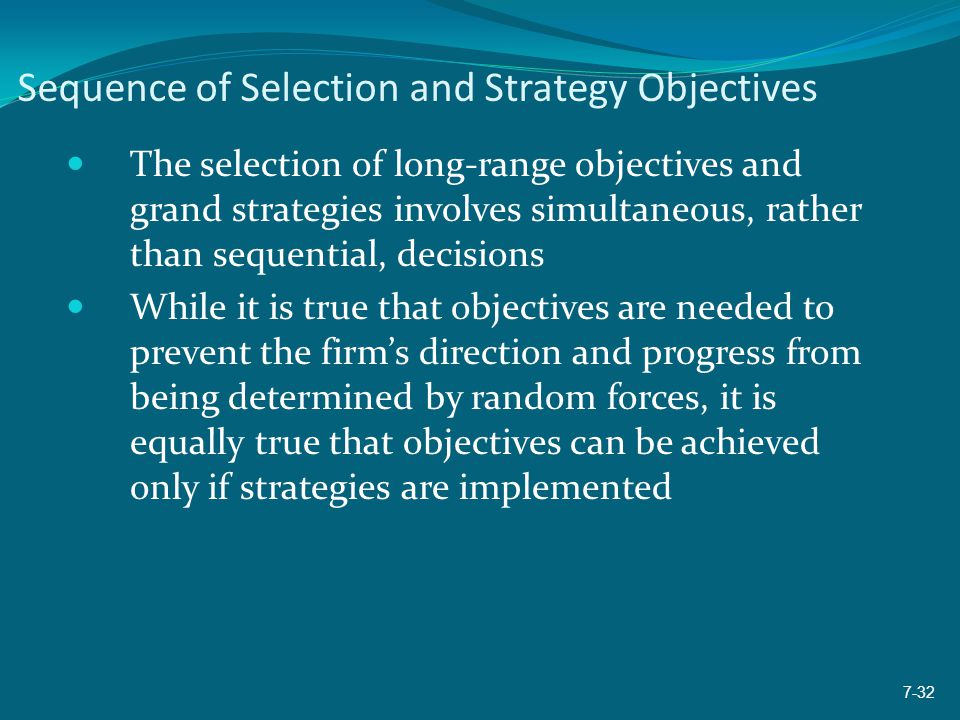 Sequence of Selection and Strategy Objectives