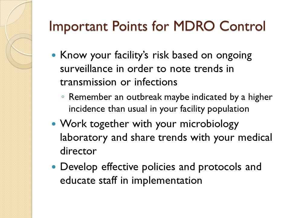 Important Points for MDRO Control