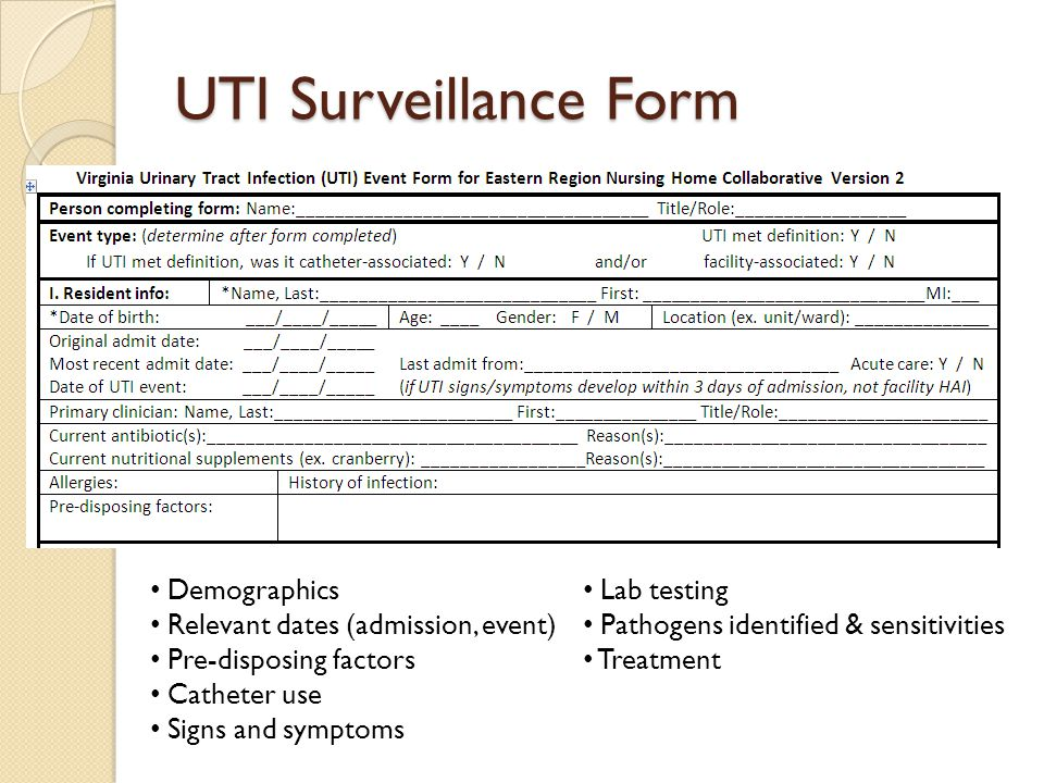 UTI Surveillance Form Demographics Lab testing
