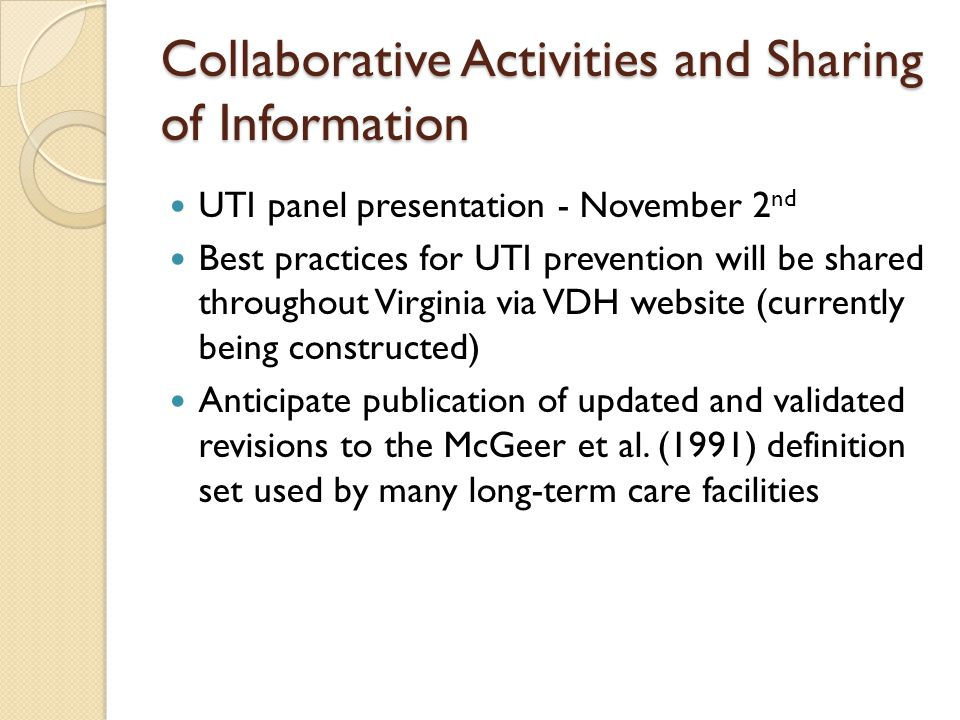 Collaborative Activities and Sharing of Information