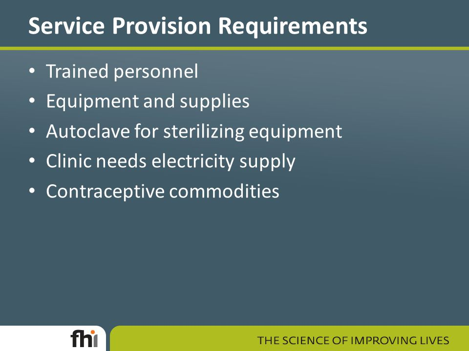 Service Provision Requirements